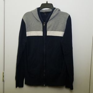 Blue, Grey, and White Knit Zip-up Hoodie